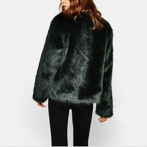Bershka Green Faux Fur Coat